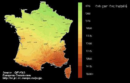 Ensoleillement France autoconsommation